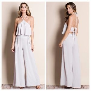 💫NWT! Silver Halter Jumpsuit💫